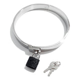 Adult Bondage Restraint Flat Stainless Steel Neck Collar with Padlock KB-893 Multiple Sizes