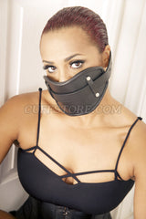 Adult BDSM Extreme Real Black Leather Locking Mouth Gag Mask 2008-SM