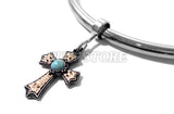 Gold Turquoise Cross For Bondage Collar Neck Restraints
