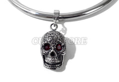 Large Red Crystal Skull Charm For Bondage Collar Restraints
