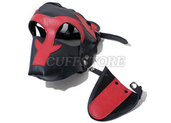 Red & Black Leather Puppy Play Dog Mask with Removable Muzzle