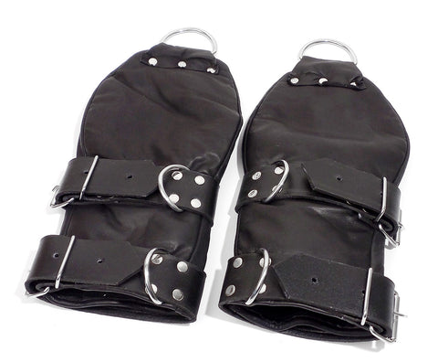 Padded Soft Leather Black Glove Fist Mitt Restraint with D-Rings