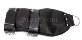 Padded Soft Leather Black Glove Fist Mitt Restraint with D-Rings and Adjustable Straps