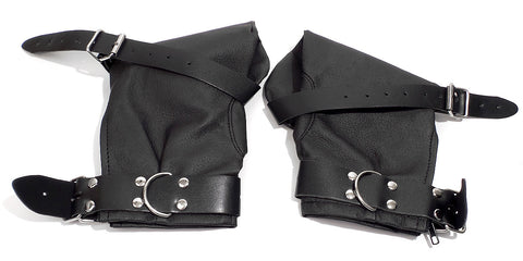 Soft Black Faux Leather Bondage Fist Mitt Restraint with Adjustable Buckles