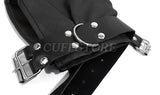 Soft Faux Leather Black Glove Fist Mitt Restraint with Adjustable Buckles