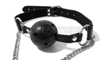 Lockable Breathable Mouth Ball Gag with Nipple Clamps