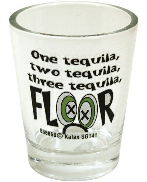 1 Tequilla 2 Tequilla 3 Tequilla Floor Shot Glass, Fun & Games