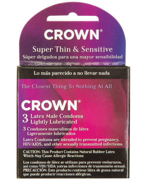 Crown Lubricated Condoms - Box Of 3, Essentials
