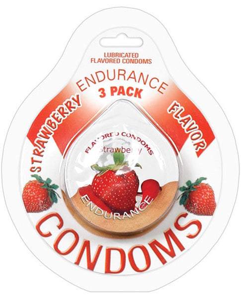 Endurance Flavored Condom - Strawberry Pack Of 3, Essentials