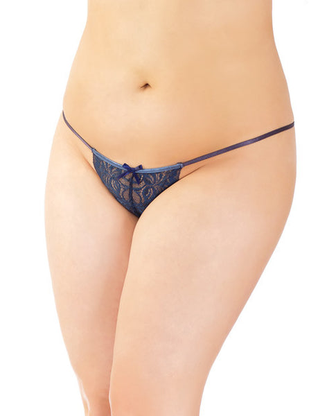-stretch Lace Adjustable G-string W-front Bow Navy Os-xl, Sexy Wear