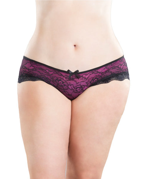 Cage Back Lace Panty Black-hot Pink  X-l, Sexy Wear