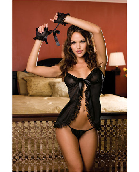 Babydoll & Thong W-lace Trim & Fingerless Gloves Black O-s, Sexy Wear