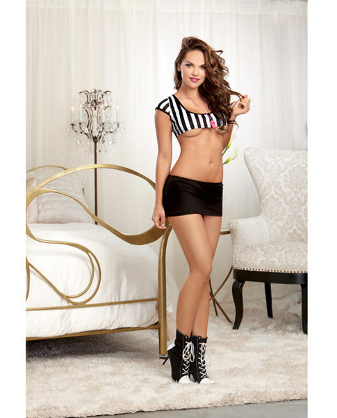3 Pc Referee Stripe Knit Crop Top, Foul Play Mini Skirt & Whistle Necklace Black O-s, Sexy Wear