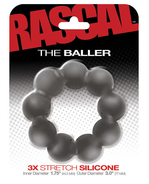 The Baller 3x Stretch Silicone Cockring - Grey