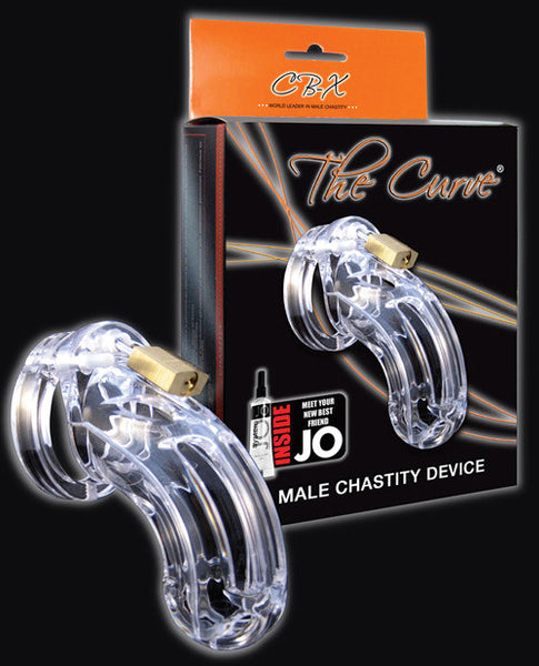 "Cb-6000 3 3-4"" Curved Cock Cage And Lock Set  - Clear, Bondage"