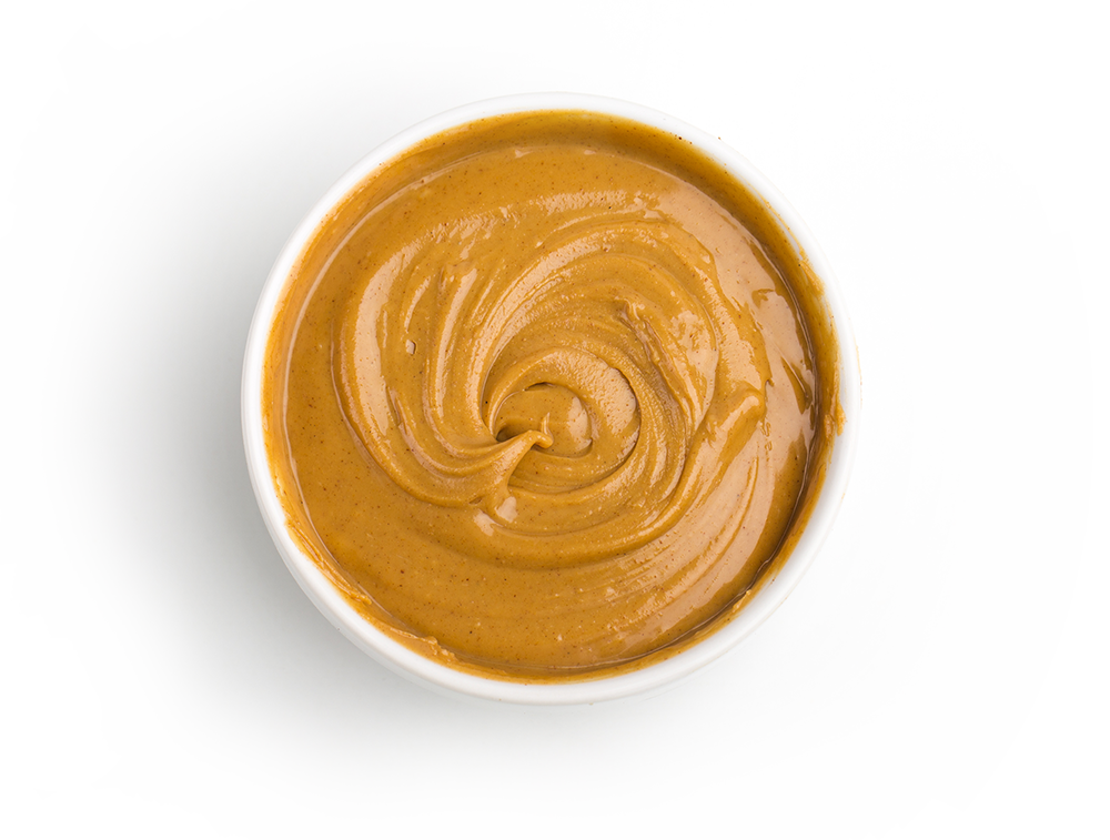 bowl of creamy peanut butter