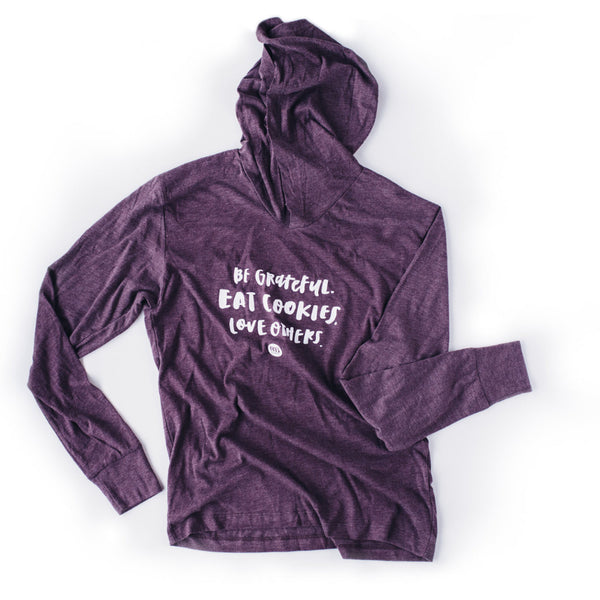 Be Grateful Long Sleeve Hooded Tee - $30