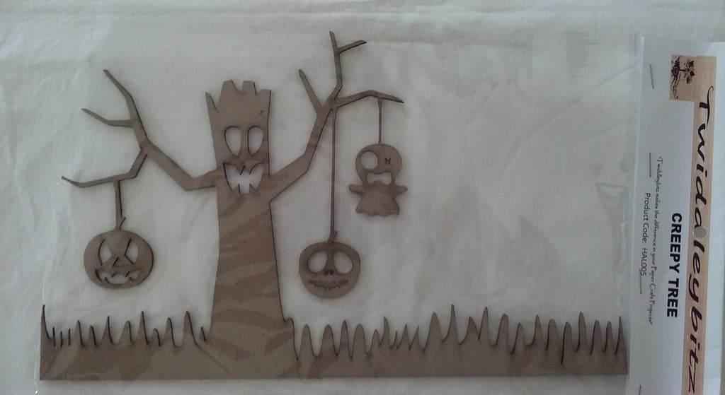 Twiddleybitz chipboard creepy tree approx. 18cm x 30cm