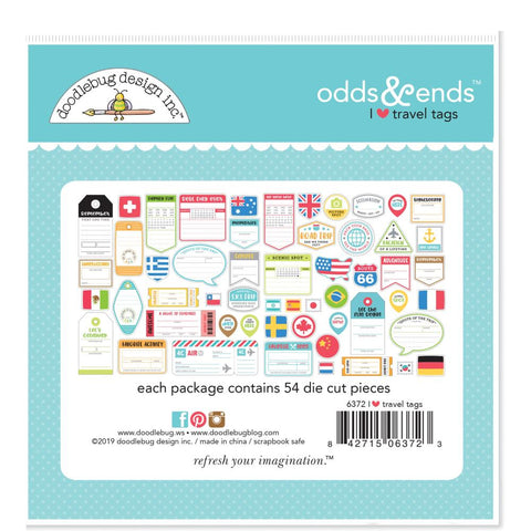 Doodlebug 'I heart travel' diecuts (54 pieces)