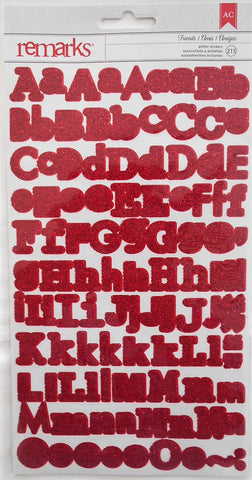 AC Remarks red glitter alphabet stickers