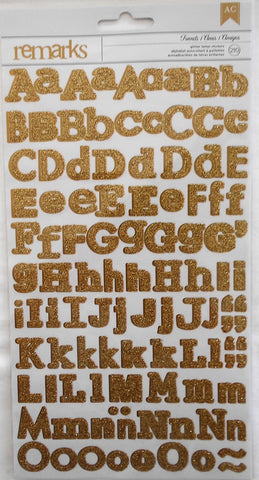 AC Remarks gold glitter alphabet stickers