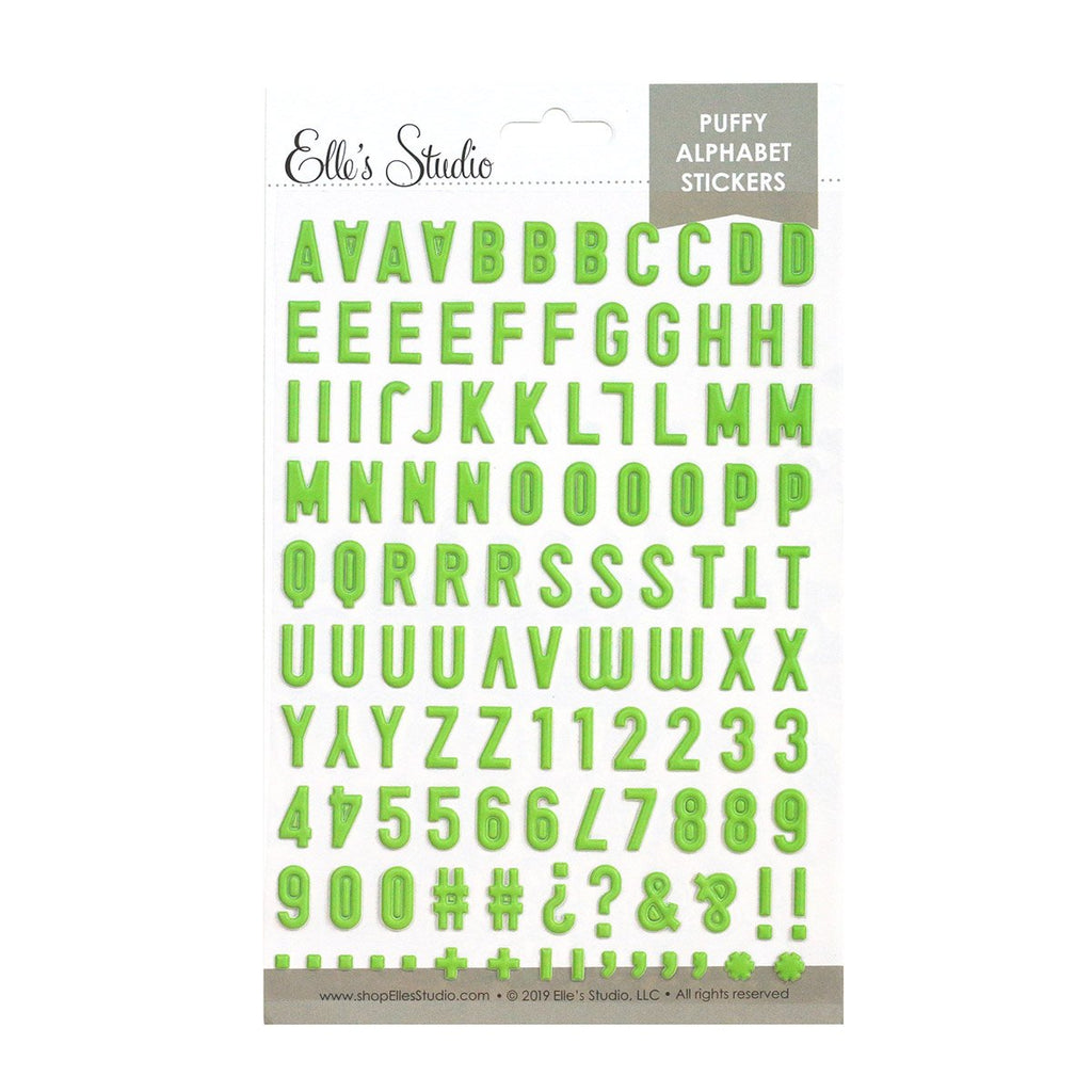 Elle's Studio lime green puffy alphabet stickers