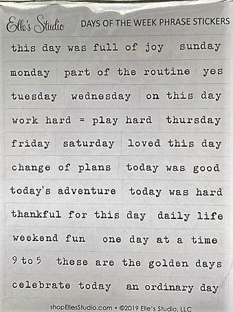 Elle's Studio Days of the week phrase stickers