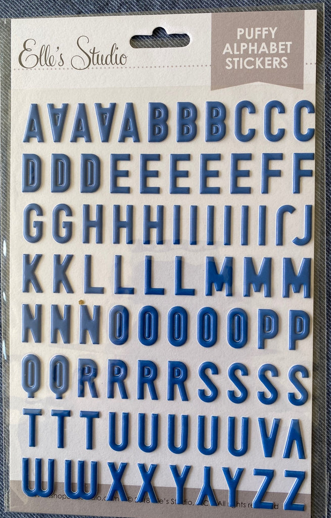 Elle's Studio puffy blue alphabet stickers (no numbers)