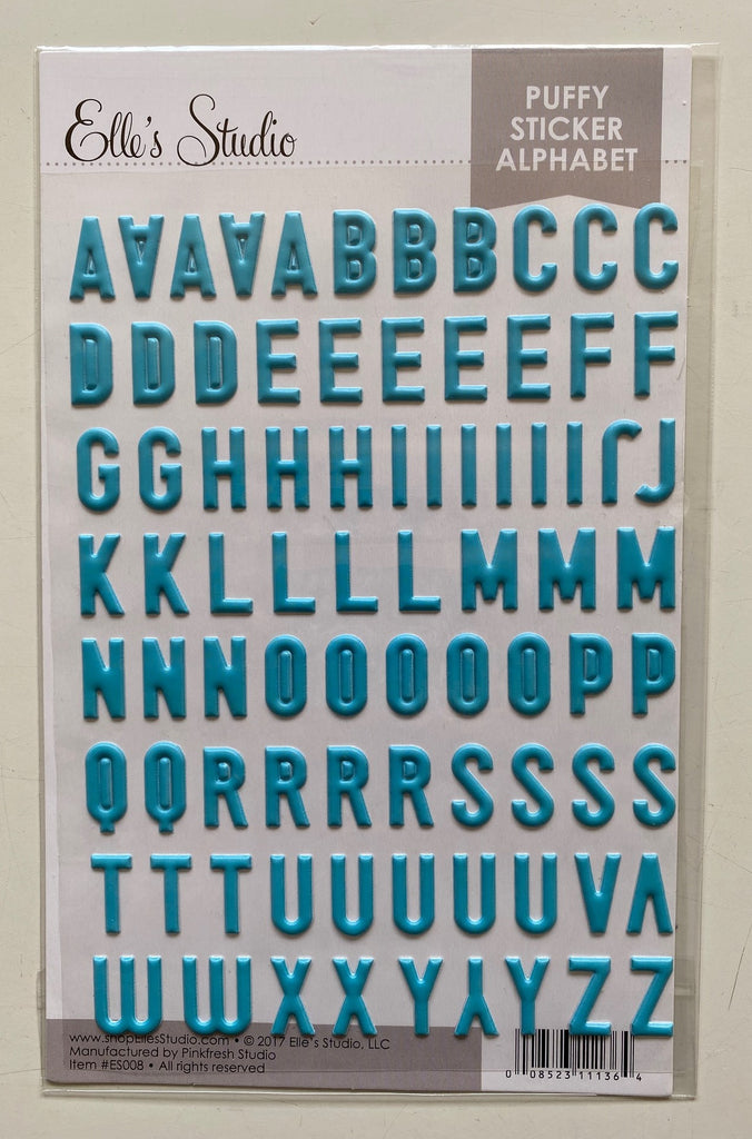 Elle's Studio puffy teal alphabet stickers (no numbers)