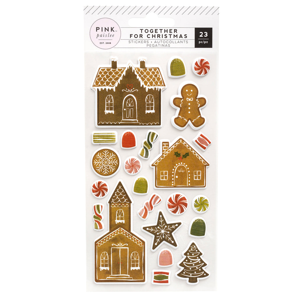 Pink Paislee 'Together for Christmas' puffy gingerbread stickers