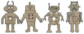 Scrapfx mini chipboard robots (4) 3.5x5 approx.