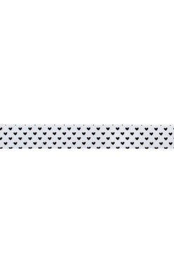AC black hearts on white ribbon 3.7m long