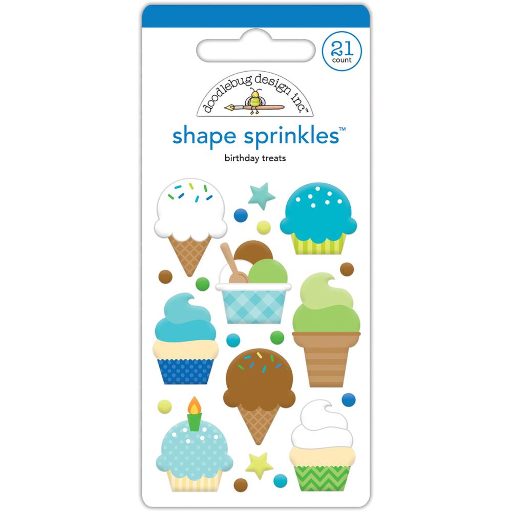 Doodlebug birthday treats enamel shapes