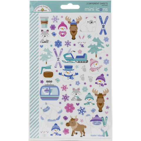 Dooblebug Winter Wonderland Icons Mini Cardstock Stickers 2/Pkg