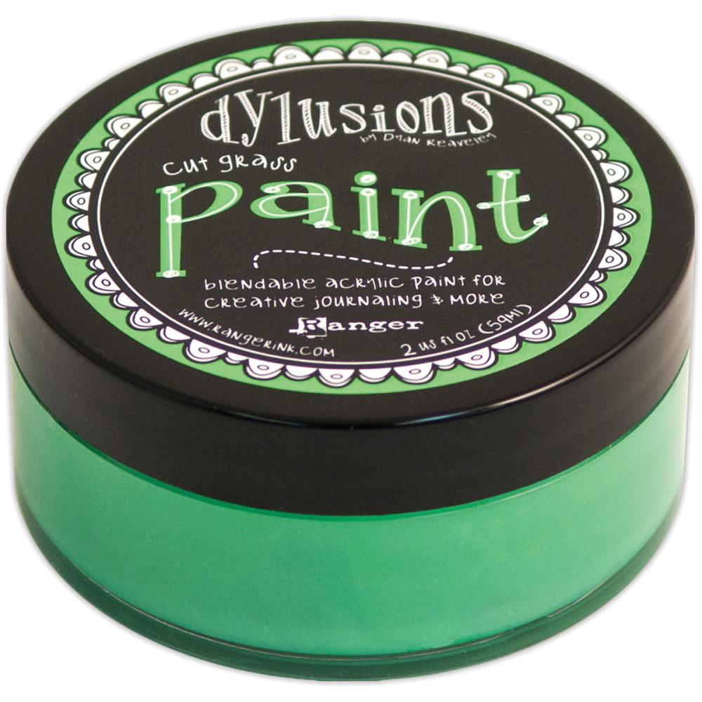 Dylusions cut grass acrylic paint