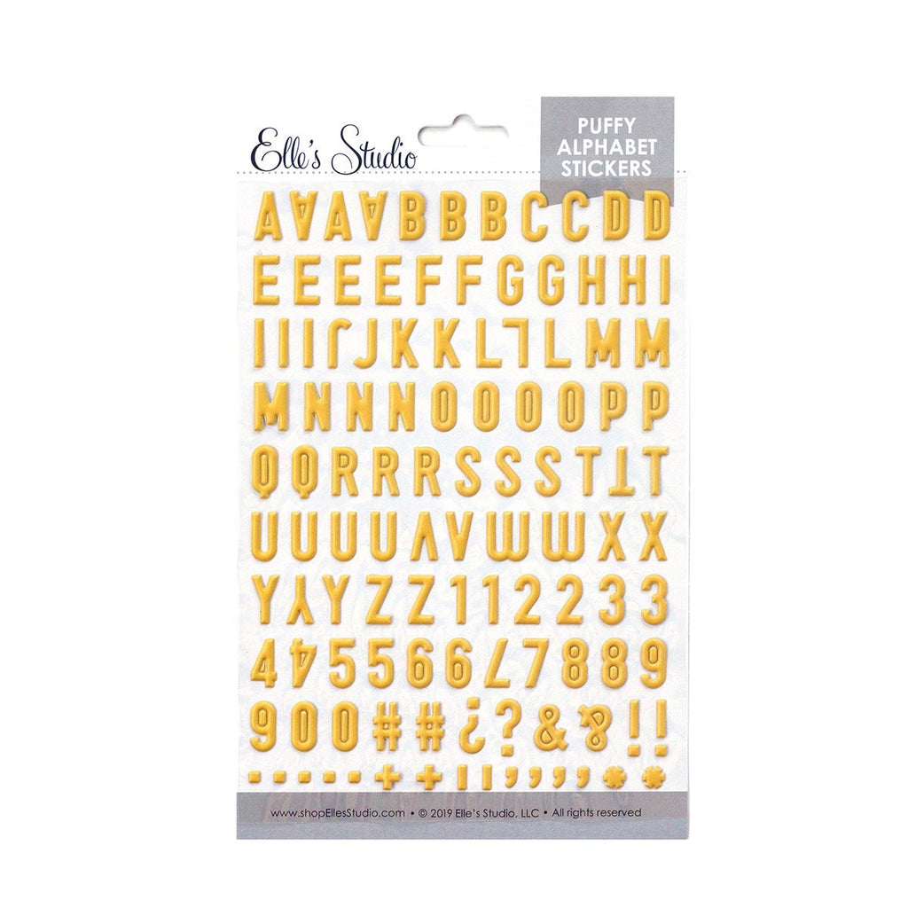 Elle's Studio yellow puffy alphabet stickers