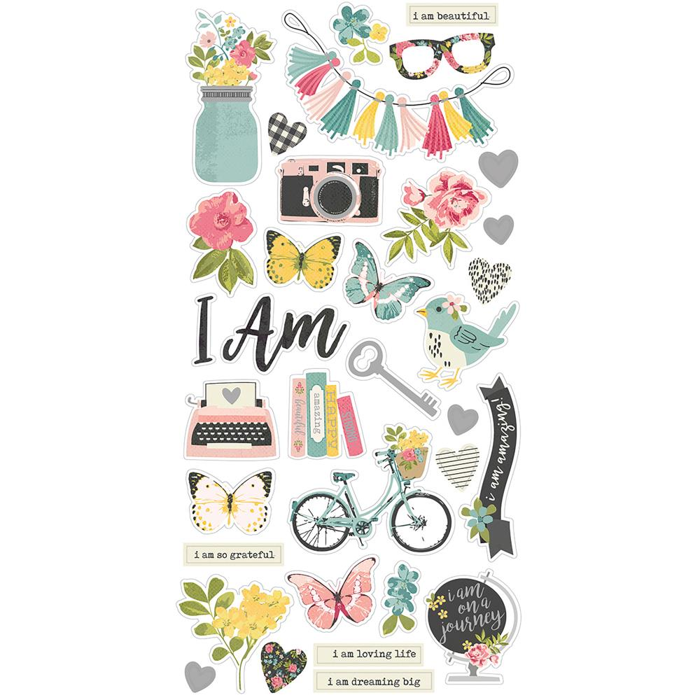 Simple Stories 'I am' chipboard stickers
