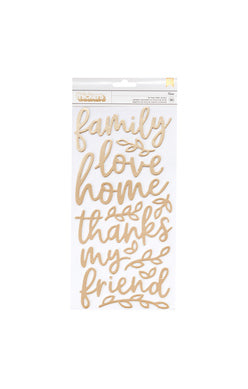 Jen Hadfield 'Along the way' gold foil foam phrase stickers