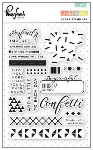 Pink fresh 'Live more' clear stamp set