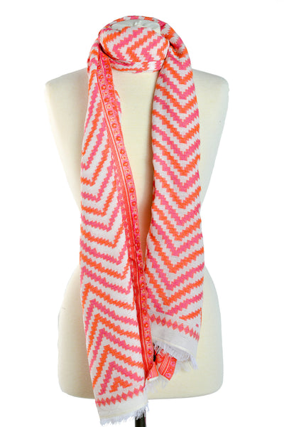 Designer Crafted Jaipur Scarf Multi Pattern Cotton Orange - THE JAIPUR COMPANY
