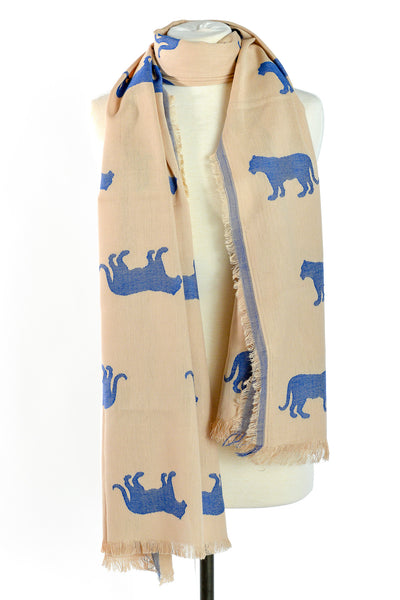 Designer Jaipur Reversible Scarf with Blue Tiger Woven Print - THE JAIPUR COMPANY