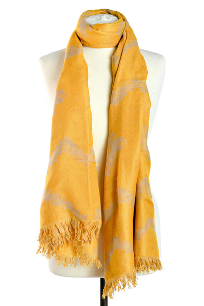 Designer Reversible Jaipur Woven Scarf with Golden Yellow Thread Work - THE JAIPUR COMPANY