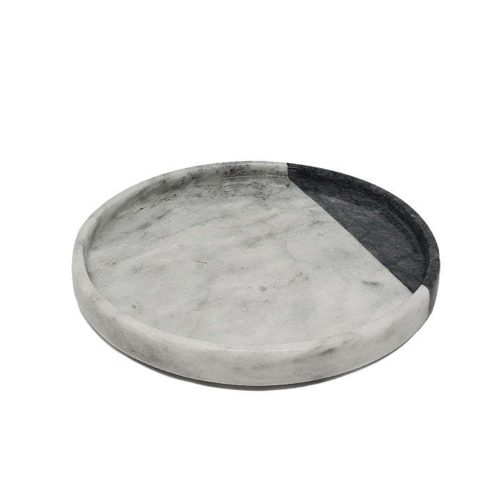 Round Marble Bath Tray with Black Accent