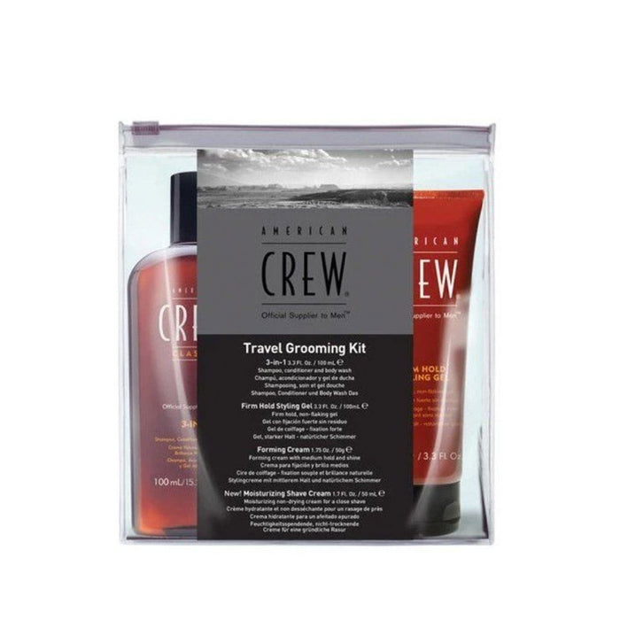 American Crew Travel Grooming Kit - 3in1 Shampoo Conditioner Body Wash, Gel, Forming Cream, Shave Cream