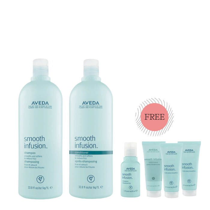 HairMNL AVEDA Smooth Infusion™ Shampoo & Conditioner 1 Liter with FREE 4 Travel-Size Products