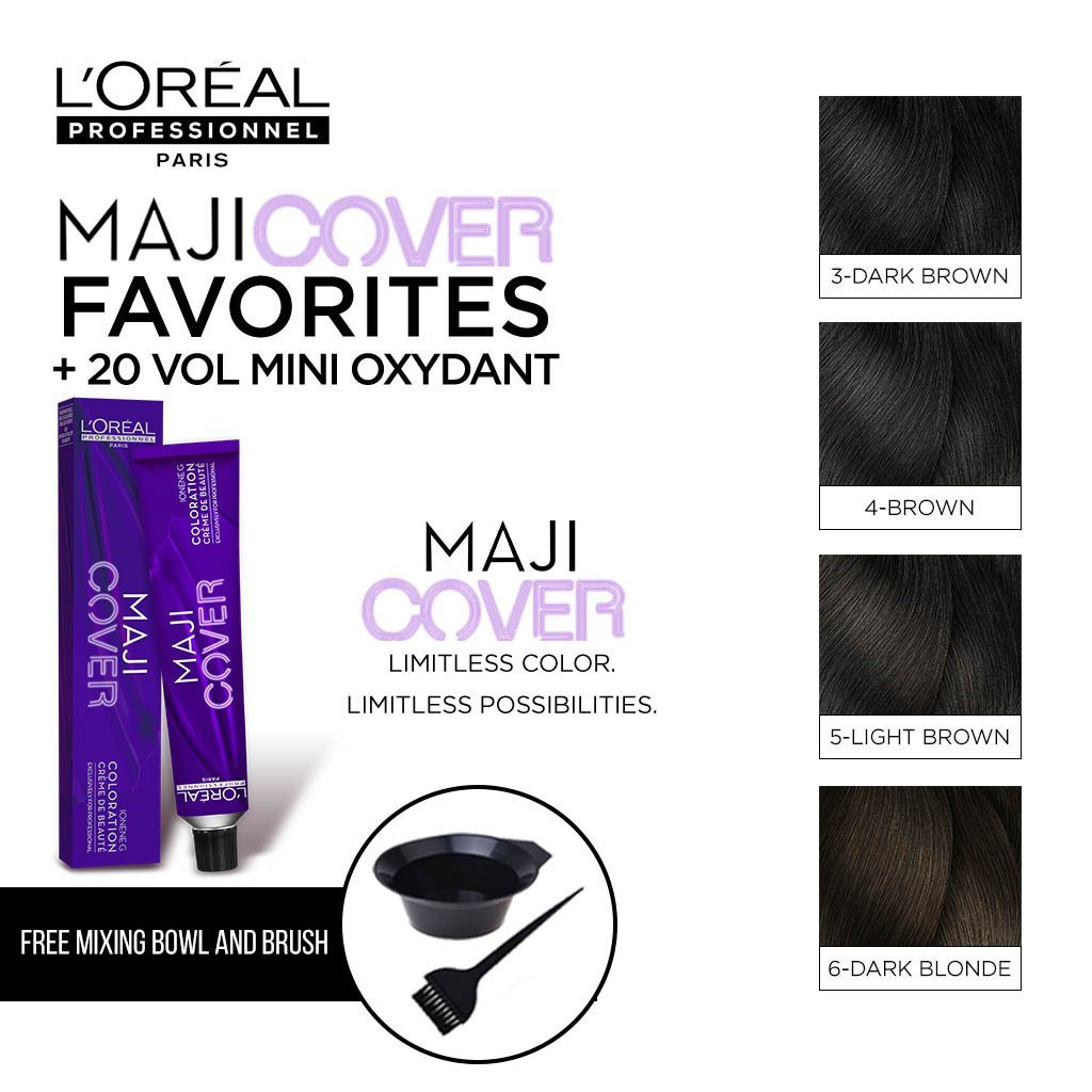 HairMNL L'Oreal Professionnel MajiCover Color Kits - 20 Vol Developer - Free Mixing Bowl and Brush