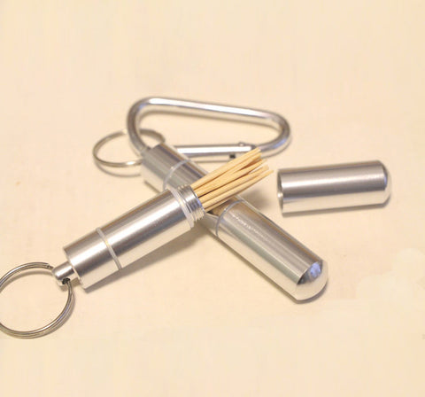 Aluminium Alloy Metal Pocket Toothpick Holder with Keychain USA Shipped