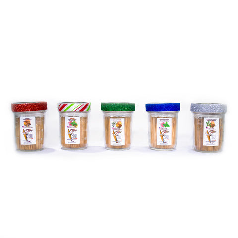 5 Flavored Toothpick Ultimate Sampler Pack 600 qty Glass Reusable Decorative Jars
