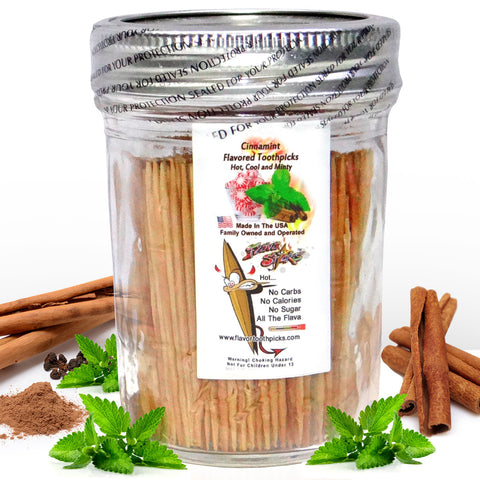 600 Cinnamint Flavored Toothpicks With Reusable Decorative Glass Jar