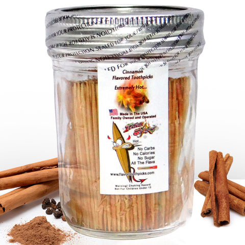600 Cinnamon Flavored Toothpicks With Reusable Decorative Glass Jar